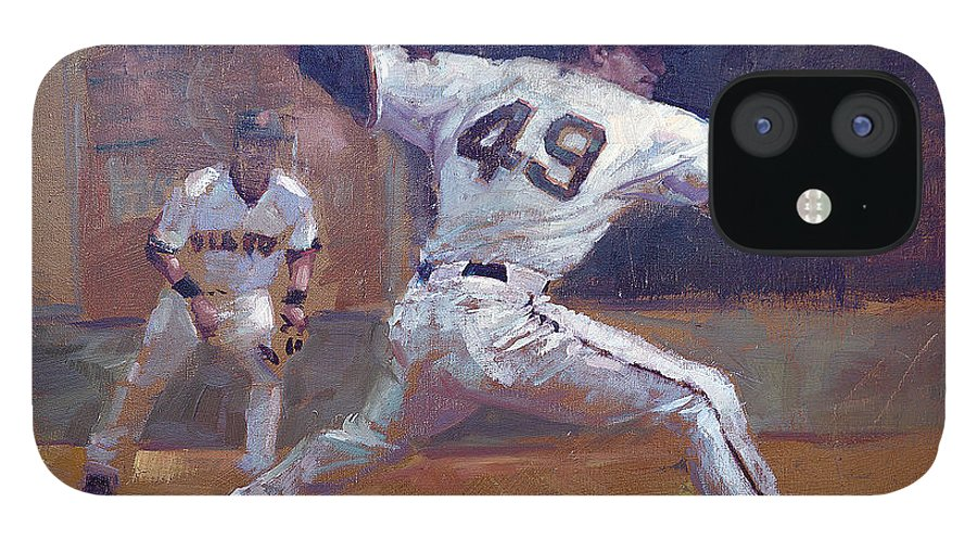 Javier Lopez IPhone 12 Case featuring the painting Night Train by Darren Kerr