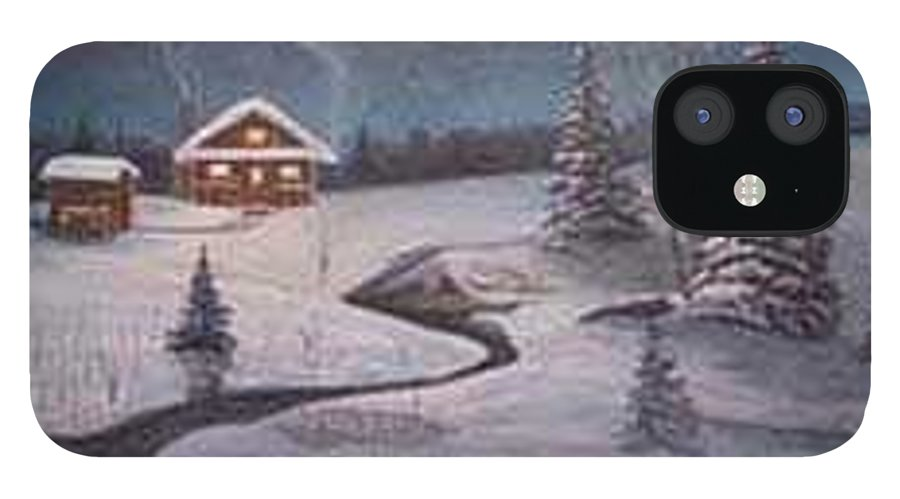 Rick Huotari IPhone 12 Case featuring the painting North Woods Cabin by Rick Huotari