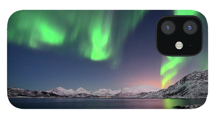 Tranquility IPhone 12 Case featuring the photograph Northern Lights And Moonlit Landscape by John Hemmingsen