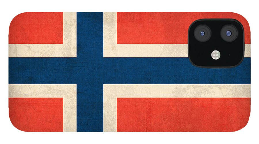 Norway Flag Distressed Vintage Finish Norwegian Oslo Scandinavian Europe Country Nation IPhone 12 Case featuring the mixed media Norway Flag Distressed Vintage Finish by Design Turnpike