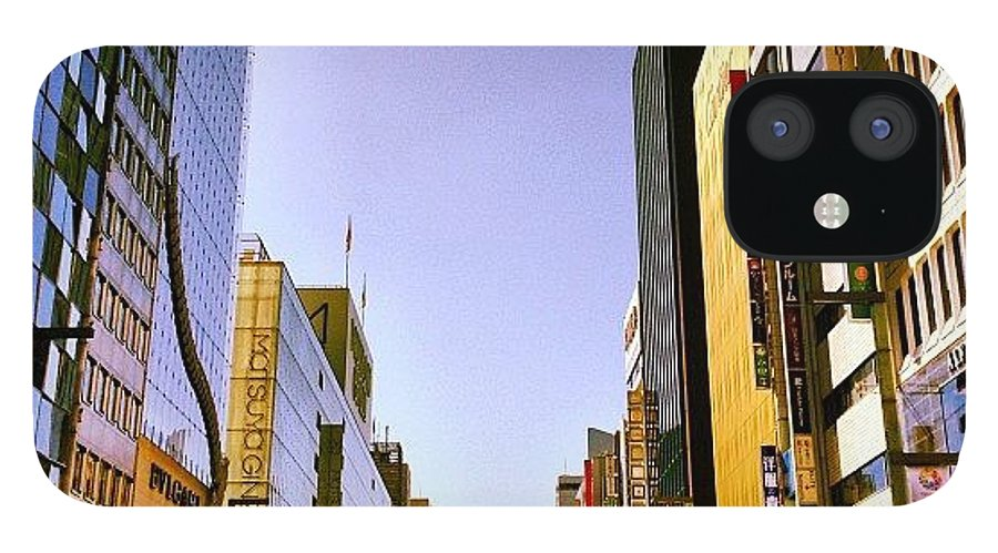 Ginza IPhone 12 Case featuring the photograph 快晴の銀座 #tokyo #ginza by Tokyo Sanpopo