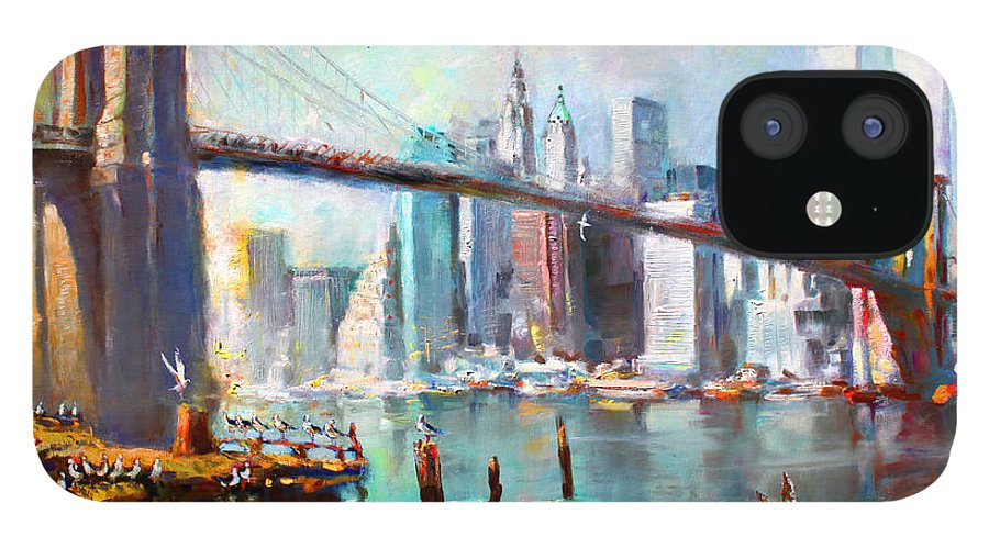 Nyc iPhone 12 Case featuring the painting NY City Brooklyn Bridge II by Ylli Haruni