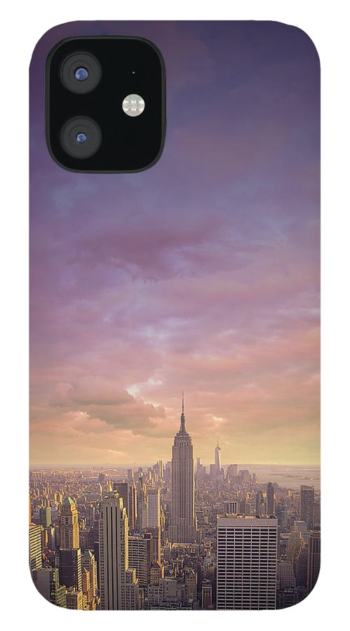 Lower Manhattan IPhone 12 Case featuring the photograph Nyc At Sunset by Bluberries