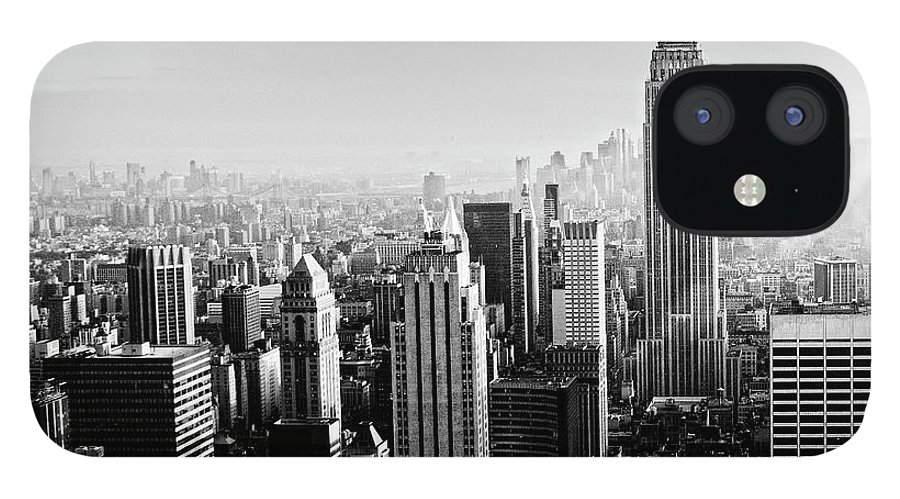 Lower Manhattan IPhone 12 Case featuring the photograph Nyc Skyline.black And White by Lisa-blue