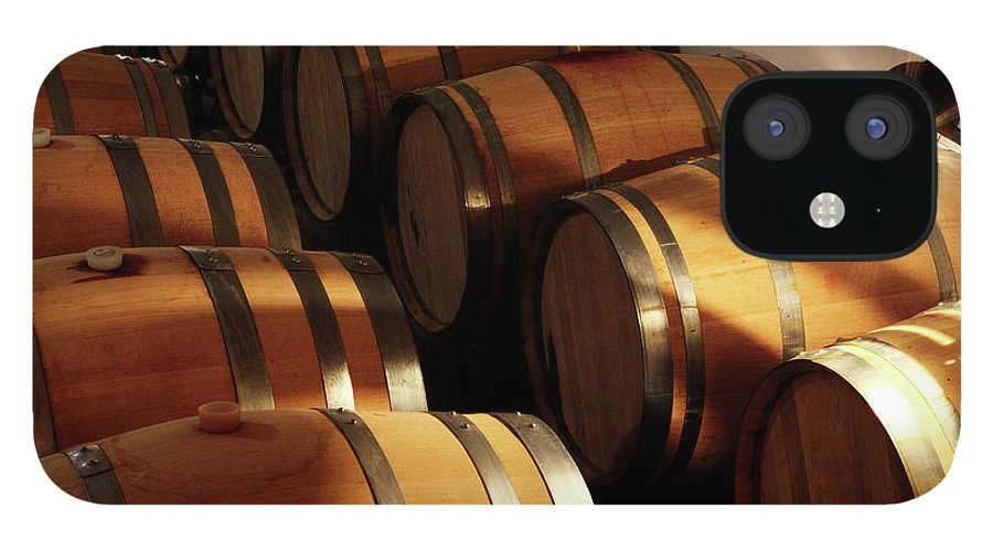 Alcohol IPhone 12 Case featuring the photograph Oak Barrels In A Cellar by Seraficus