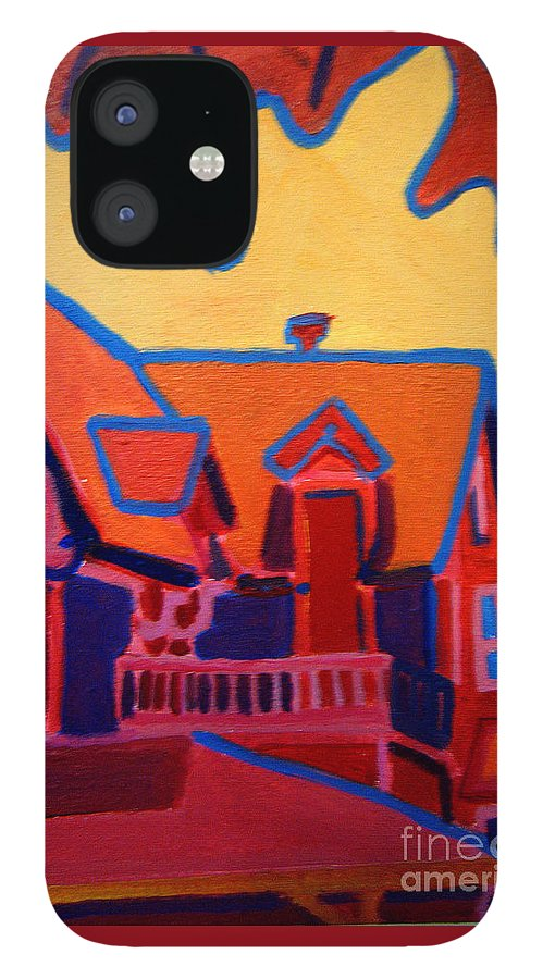 Martha\'s Vineyard IPhone 12 Case featuring the painting Oak Bluffs in Red by Debra Bretton Robinson
