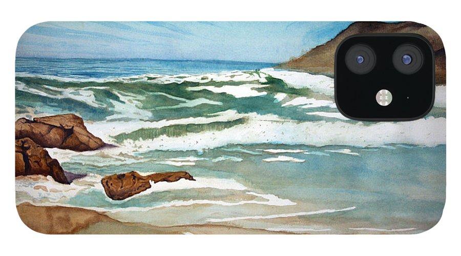 Rick Huotari IPhone 12 Case featuring the painting Ocean Side by Rick Huotari