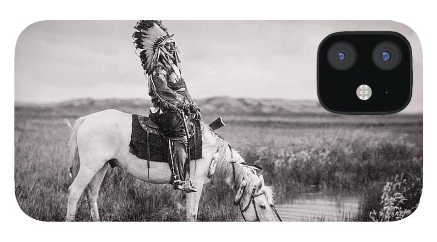 1905 IPhone 12 Case featuring the photograph Oglala Indian Man circa 1905 by Aged Pixel
