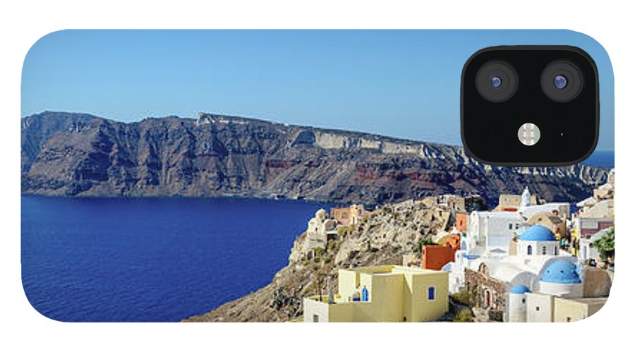 Scenics IPhone 12 Case featuring the photograph Oia Panoramic, Santorini, Greece by Chrishepburn