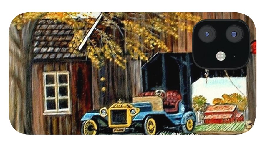 Old Barn Car IPhone 12 Case featuring the painting Old Barn and Old Car by Kenneth LePoidevin