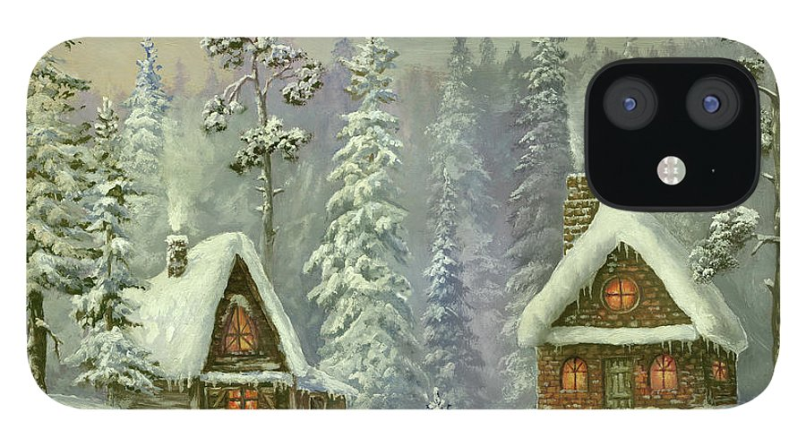 Art IPhone 12 Case featuring the digital art Old Christmas Card by Pobytov