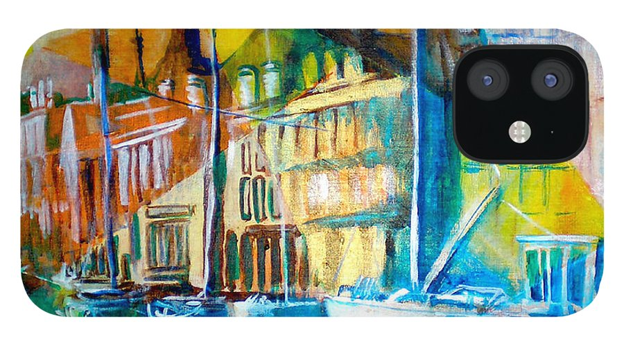 Old World Street IPhone 12 Case featuring the painting Old Copenhagen thru Stained Glass by Seth Weaver
