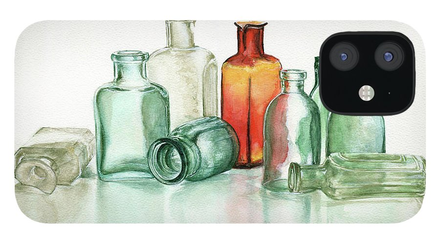 Material iPhone 12 Case featuring the photograph Old Pharmacys Glassware by Sergey Ryumin