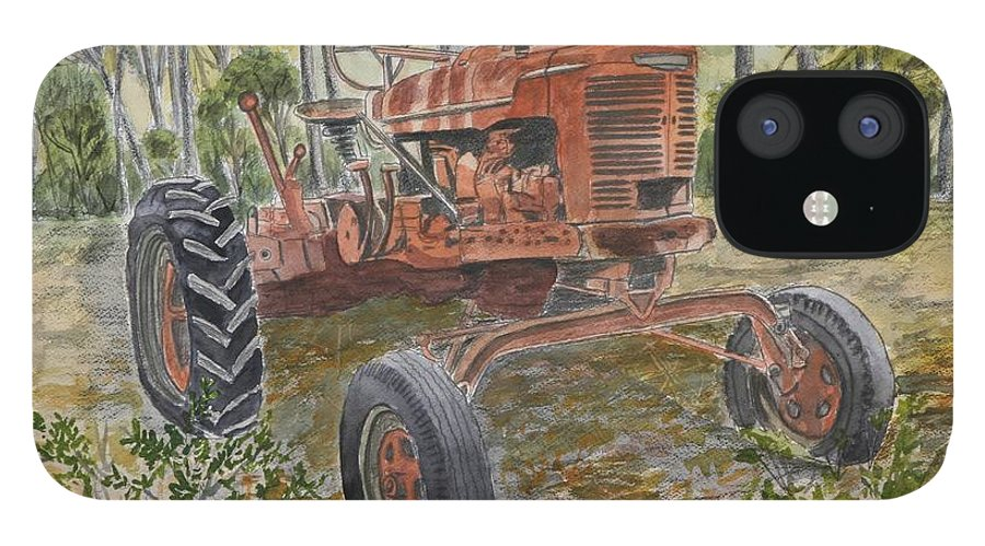Old IPhone 12 Case featuring the painting Old Tractor Vintage Art by Derek Mccrea