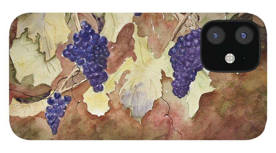 Grapes IPhone 12 Case featuring the painting On The Vine by Patricia Novack
