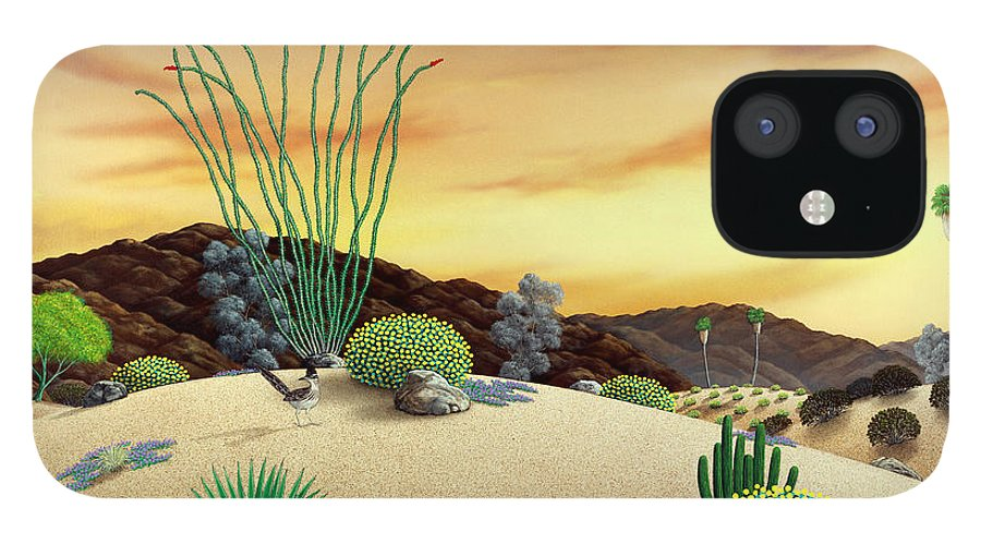 Desert iPhone 12 Case featuring the painting Orange Sky Sunset by Snake Jagger