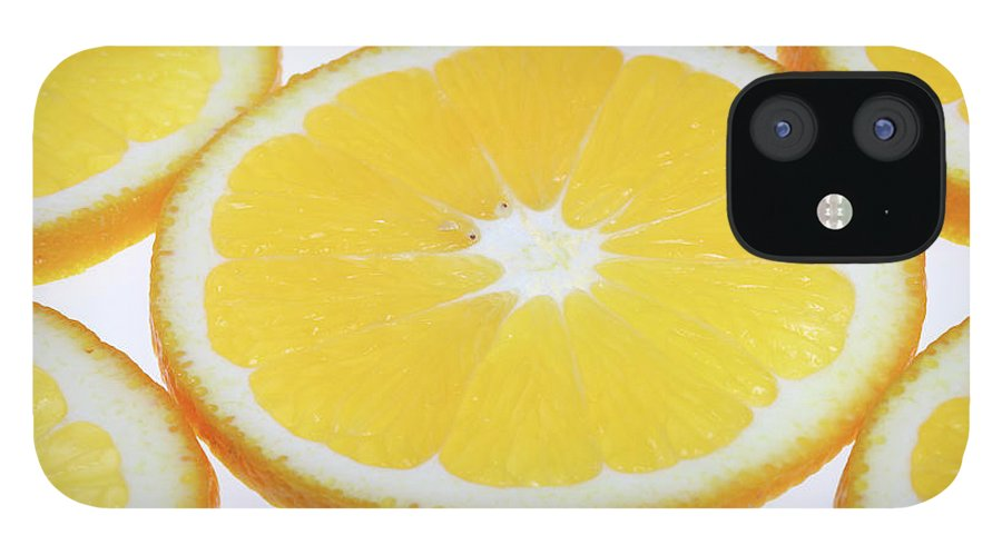 White Background IPhone 12 Case featuring the photograph Orange Slices by Vincenzo Lombardo