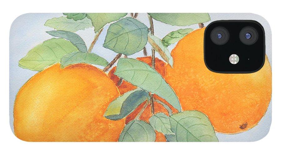 Orange IPhone 12 Case featuring the painting Orange Trio by Patricia Novack