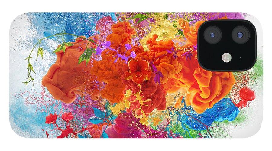 Material IPhone 12 Case featuring the digital art Orgasm by Vizerskaya