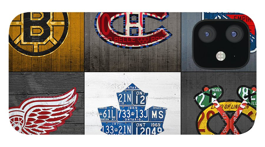 Original Six IPhone 12 Case featuring the mixed media Original Six Hockey Team Retro Logo Vintage Recycled License Plate Art by Design Turnpike