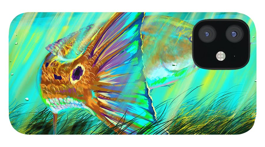 Fishing IPhone 12 Case featuring the digital art Over The Grass by Yusniel Santos