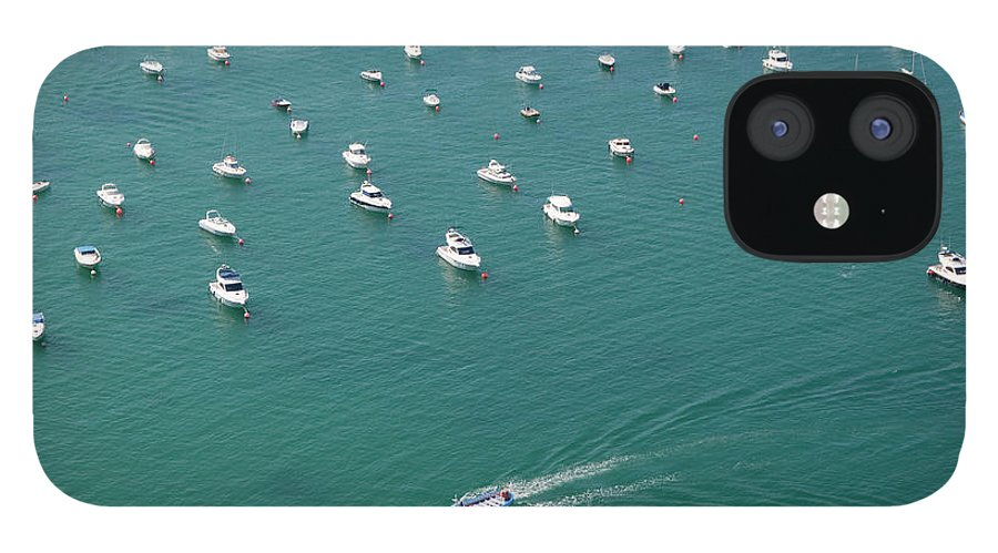 San Sebastian IPhone 12 Case featuring the photograph Overhead Of Boats In Port by Aldo Pavan