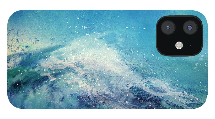 Gouache iPhone 12 Case featuring the digital art Painting Of An Ocean Wave by Brad Rickerby
