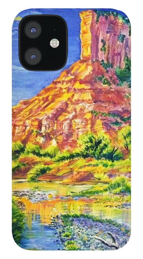 Acrylic Painting 18 By 28 In Barnwood Frame Of Iconic Sandstone Palisade Above The Dolores River In The Fall. IPhone 12 Case featuring the painting Palisiade at Gateway Colorado by Annie Gibbons