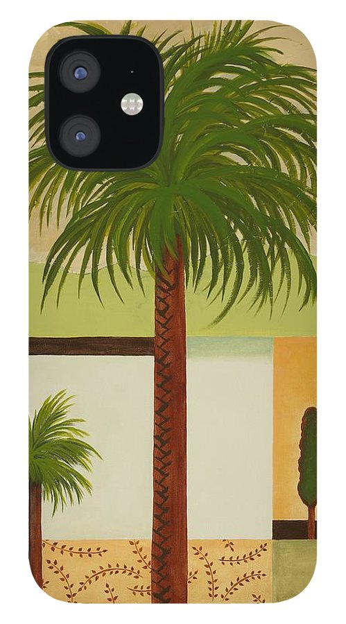 Palm Trees IPhone 12 Case featuring the painting Palm Desert by Carol Sabo