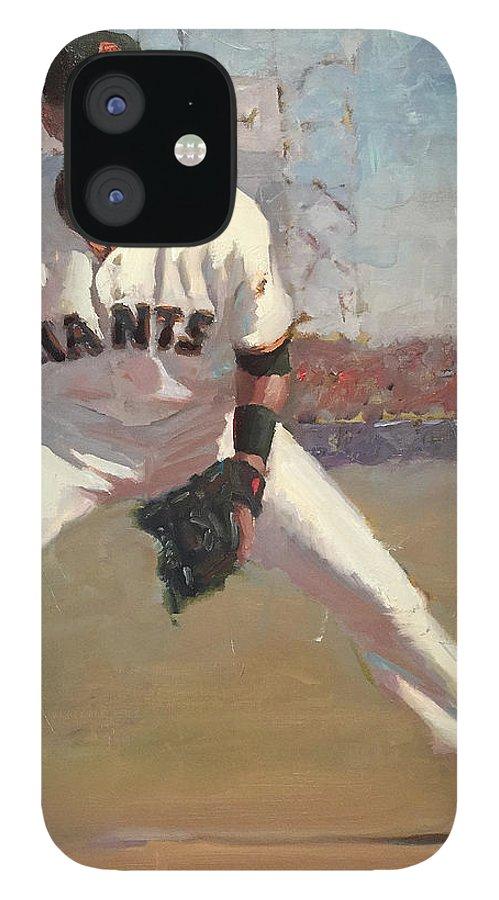 Joe Panik IPhone 12 Case featuring the painting Panik at Second by Darren Kerr