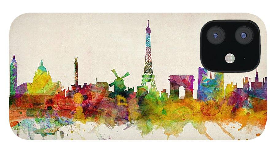Paris IPhone 12 Case featuring the digital art Paris Skyline by Michael Tompsett