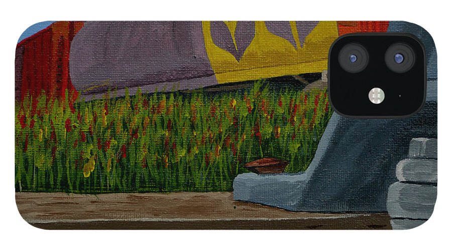 Train IPhone 12 Case featuring the painting Passing the wild ones by Anthony Dunphy
