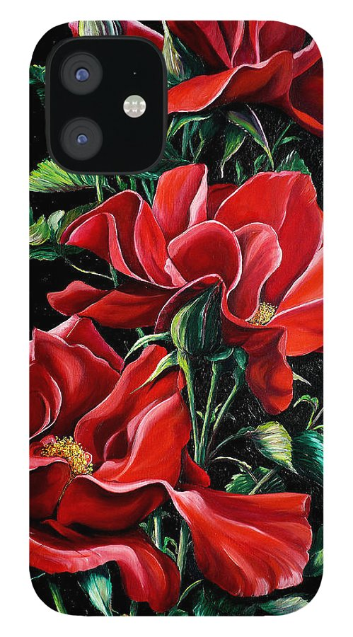 Rose Paintings Red Floral Paintings Flower Paintings  Botanical Paintings Red Rose Paintings Greeting Card Paintings Canvas Print Paintings  IPhone 12 Case featuring the painting Passionately Red by Karin Dawn Kelshall- Best