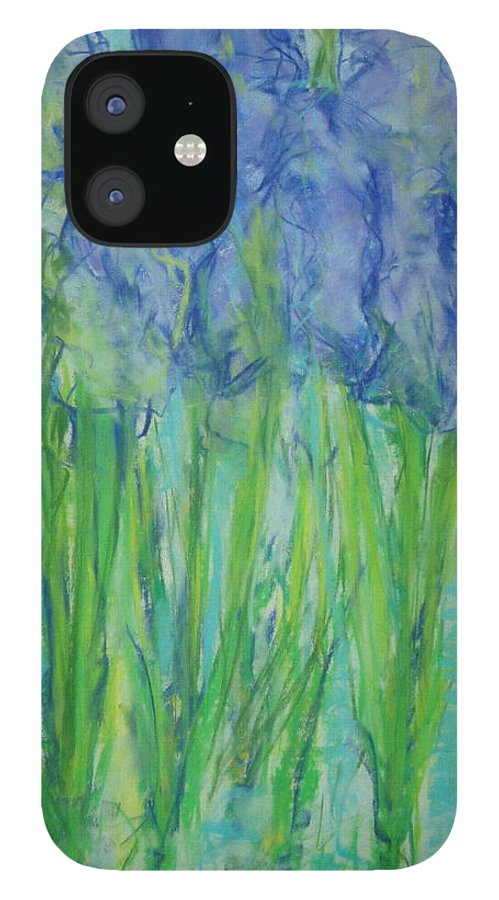 Pastel IPhone 12 Case featuring the painting Pastel Irises by Phoenix Simpson