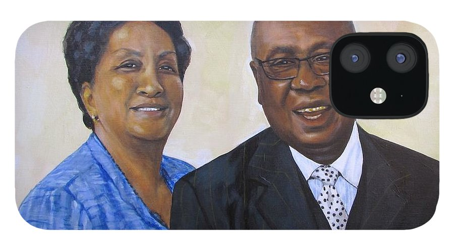 Portrait IPhone 12 Case featuring the painting Pastor Donahue and Yvonne Green by Howard Stroman