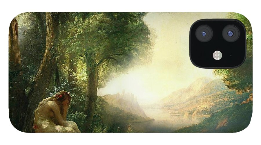 Woman IPhone 12 Case featuring the painting Pastoral Meditation by Laura Botsford