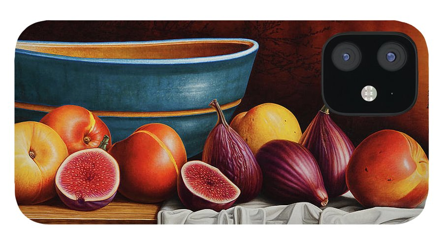 Fruit iPhone 12 Case featuring the painting Peaches and Figs by Horacio Cardozo