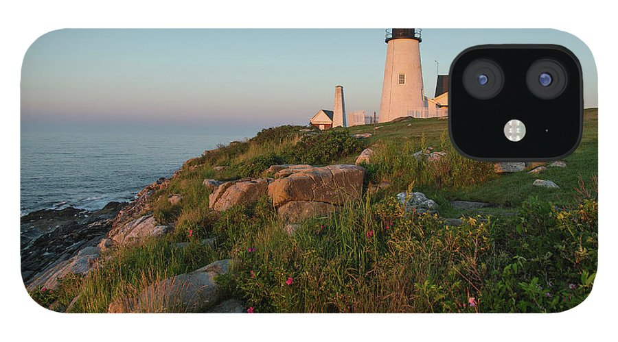 Tranquility IPhone 12 Case featuring the photograph Pemaquid Point Maine Lighthouse by Dave Mention Photography