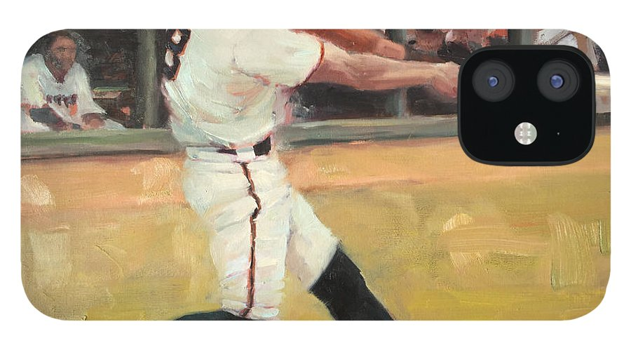 Hunter Pence IPhone 12 Case featuring the painting Pence 2014 by Darren Kerr
