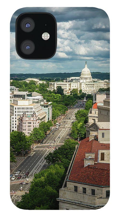 Built Structure IPhone 12 Case featuring the photograph Pennsylvania Avenue Leading Up To The by Miralex