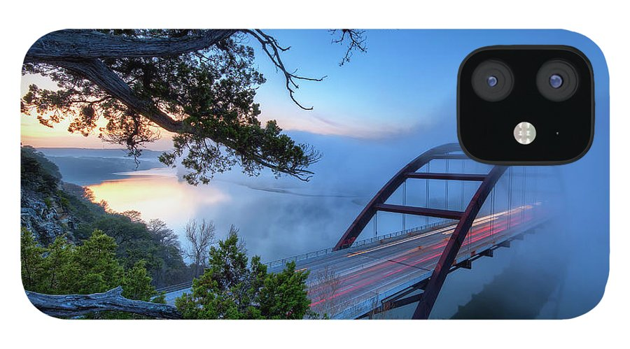 Tranquility IPhone 12 Case featuring the photograph Pennybacker Bridge In Morning Fog by Evan Gearing Photography