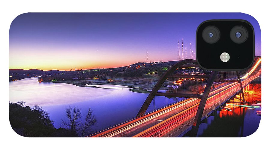 Tranquility IPhone 12 Case featuring the photograph Pennybacker Bridge by John Cabuena Flipintex Fotod