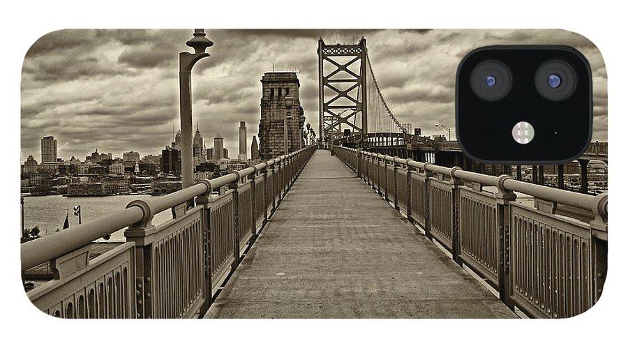 Philadelphia IPhone 12 Case featuring the photograph Philadelphia from Ben Franklin Bridge 1 by Jack Paolini