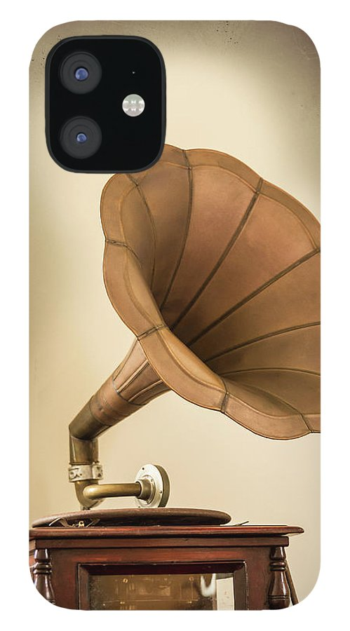 Music IPhone 12 Case featuring the photograph Phonograph Record Player by Gary S Chapman