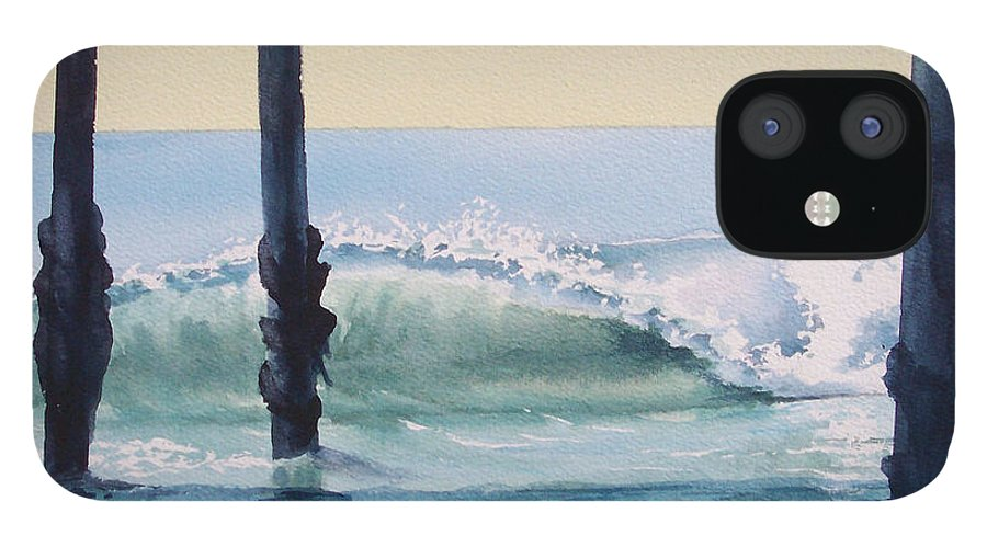 Wave IPhone 12 Case featuring the painting Pier Wave by Philip Fleischer