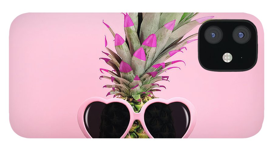 Food IPhone 12 Case featuring the photograph Pineapple Wearing Sunglasses by Juj Winn