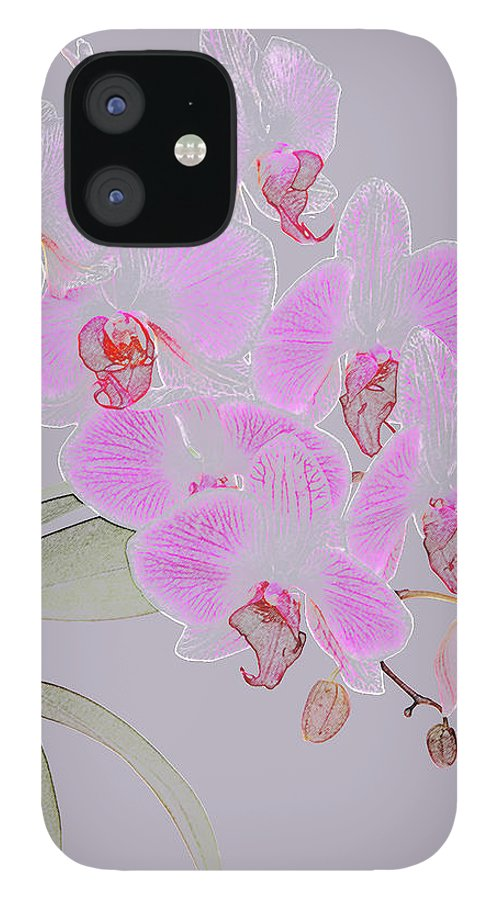 Haslemere iPhone 12 Case featuring the photograph Pink Orchids As Coloured Pencil Drawing by Rosemary Calvert