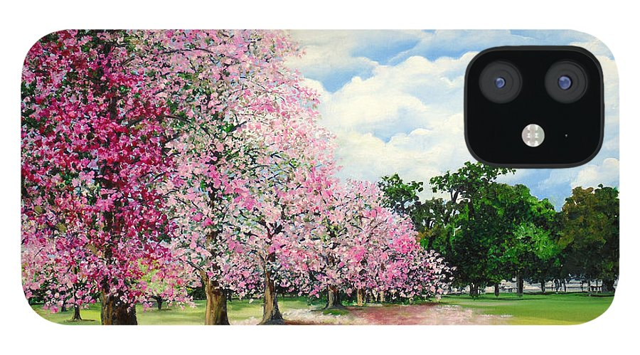 Pink Poui Trees IPhone 12 Case featuring the painting Pink Savannah Poui by Karin Dawn Kelshall- Best