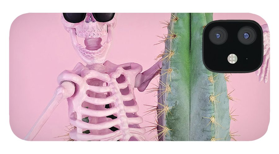 Cool Attitude IPhone 12 Case featuring the photograph Pink Skeleton With Cactus by Juj Winn