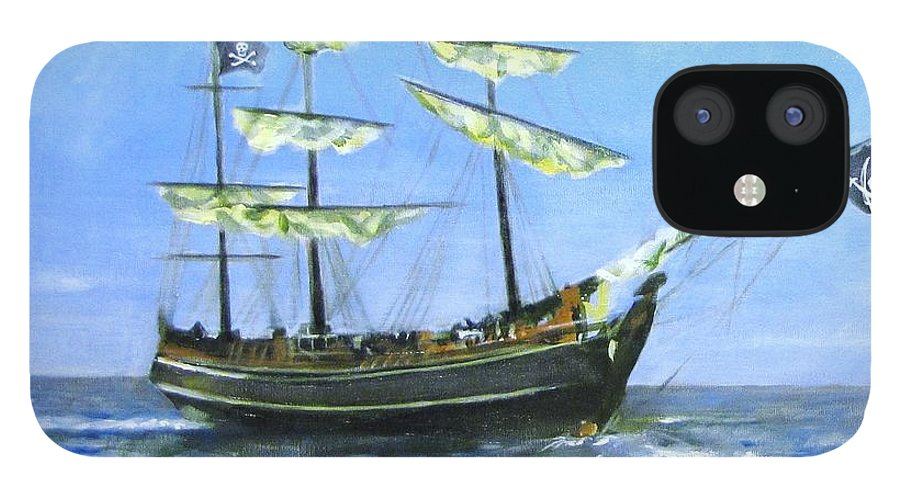 Pirate;pirate Ship;blackbeard Pirate;ship;sea;sail Ship; IPhone 12 Case featuring the painting Pirate by Howard Stroman